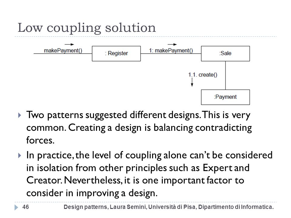 Low coupling solution Two patterns suggested different designs. This is very common. Creating a design is balancing contradicting forces.