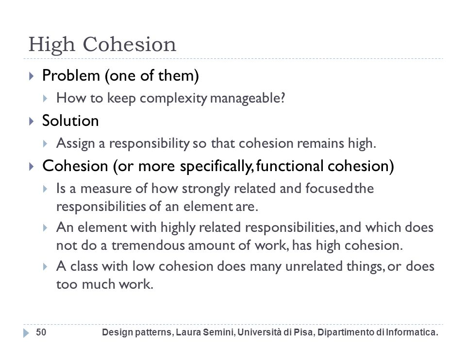 High Cohesion Problem (one of them) Solution