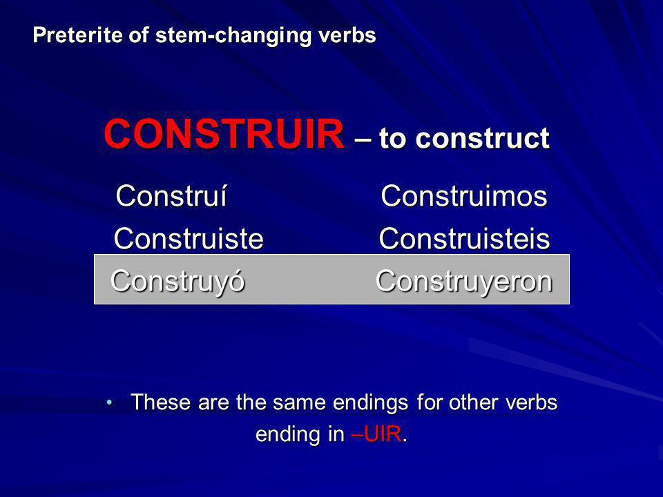 CONSTRUIR – to construct