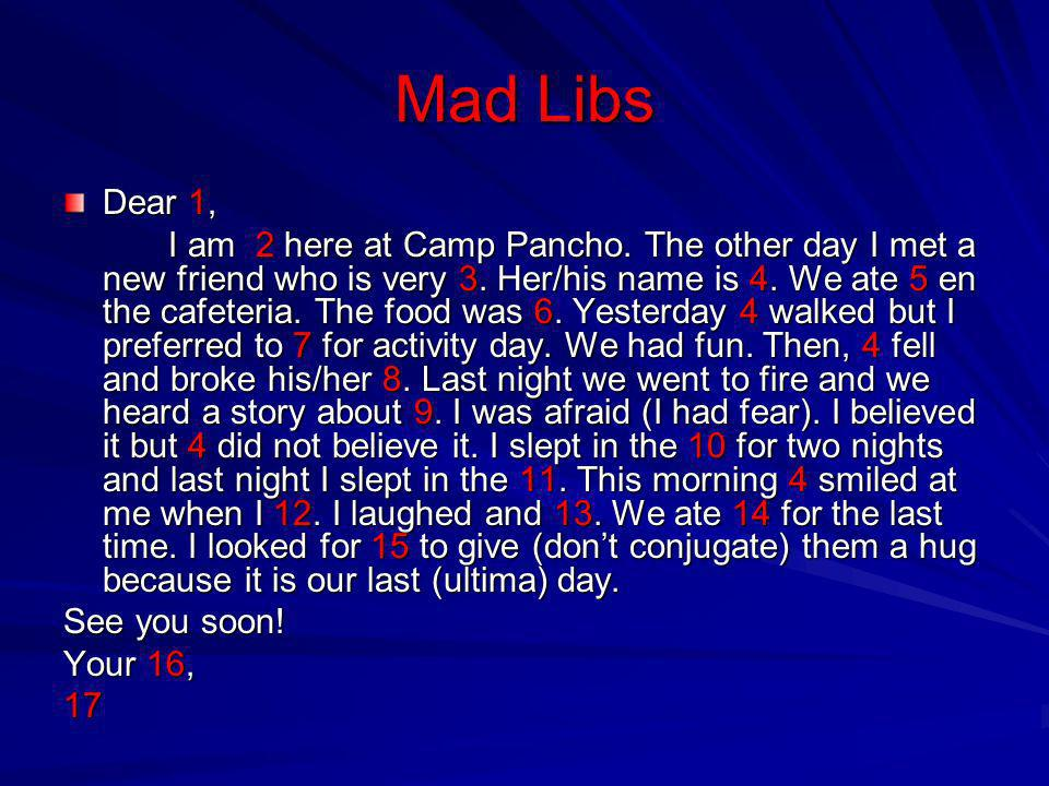 Mad Libs Dear 1,