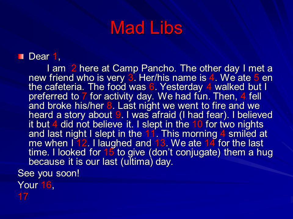 Mad Libs Dear 1,
