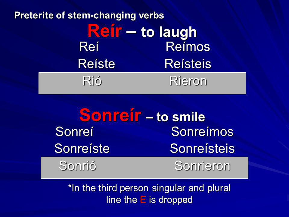 Preterite of stem-changing verbs