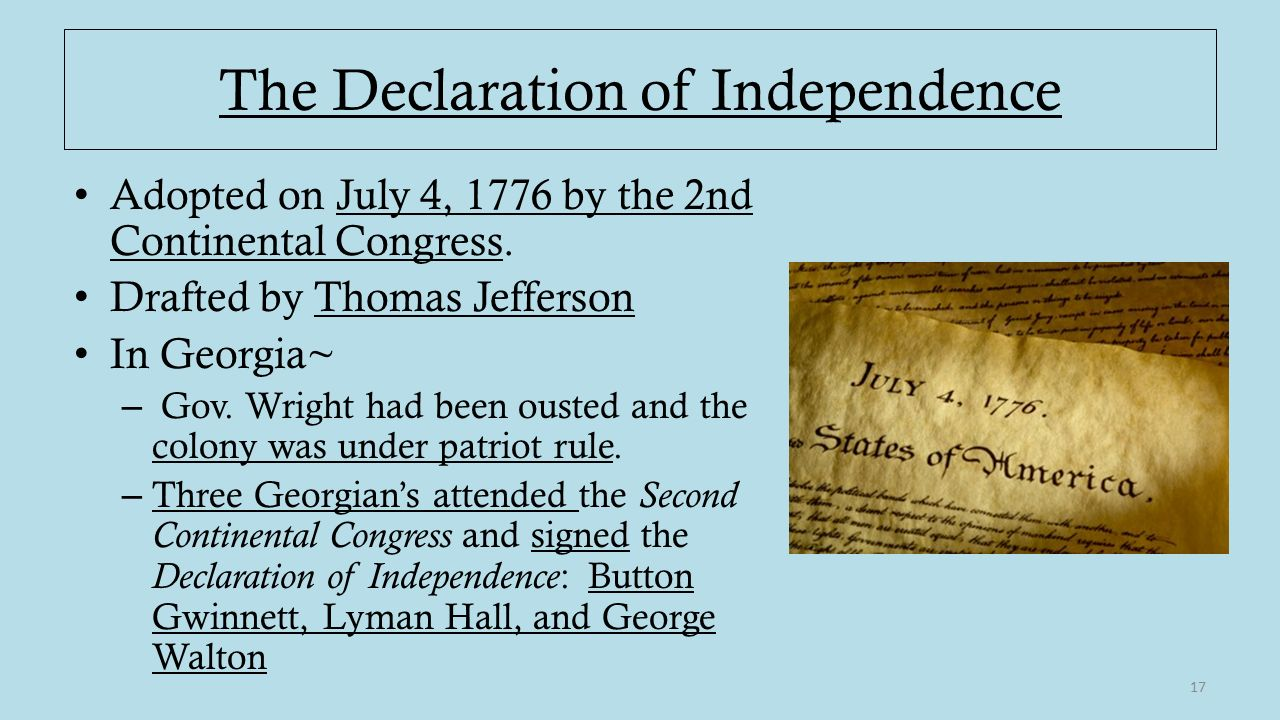 the declaration of independence of the On july 2, 1776, the continental congress voted to declare independence from england congress made several changes to the wording of jefferson's draft, including removing references condemning slavery on july 4, 1776 the declaration of independence was adopted.