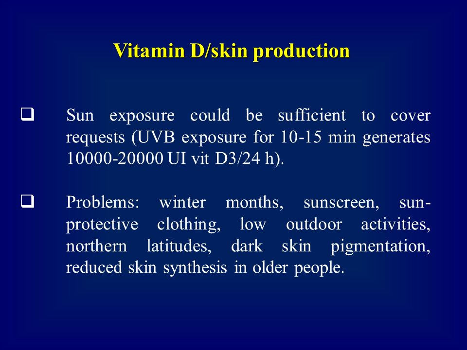 Vitamin D/skin production