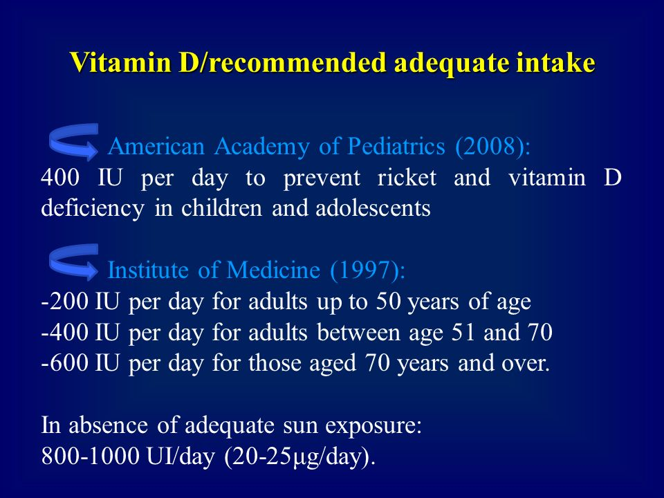 Vitamin D/recommended adequate intake
