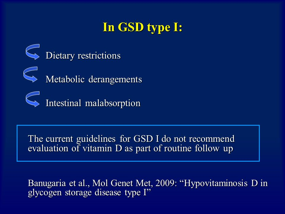 In GSD type I: Dietary restrictions Metabolic derangements