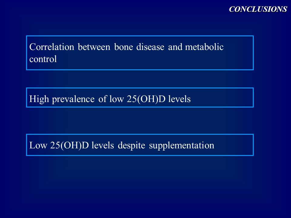 Correlation between bone disease and metabolic control