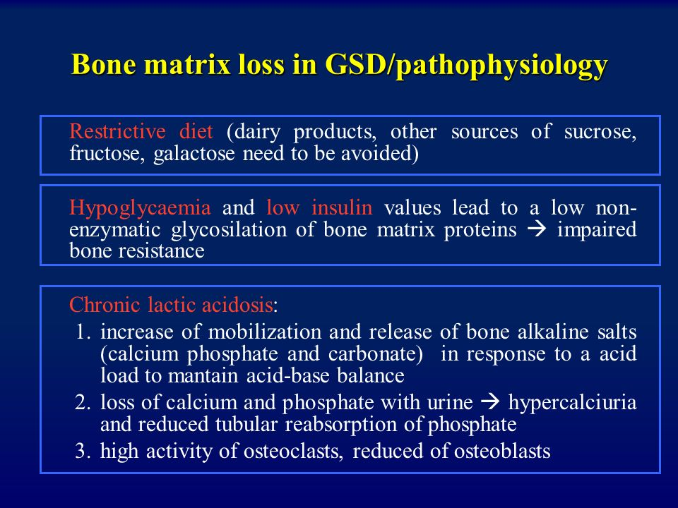 Bone matrix loss in GSD/pathophysiology
