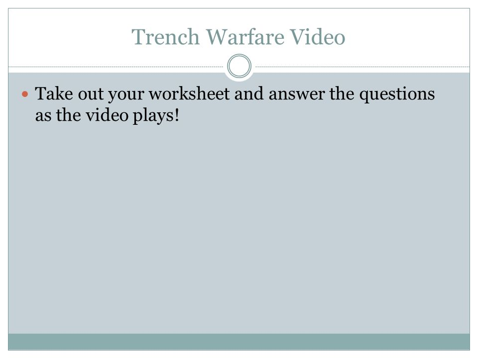 World War I Trench Warfare Primary Source Worksheet Collection | TpT
