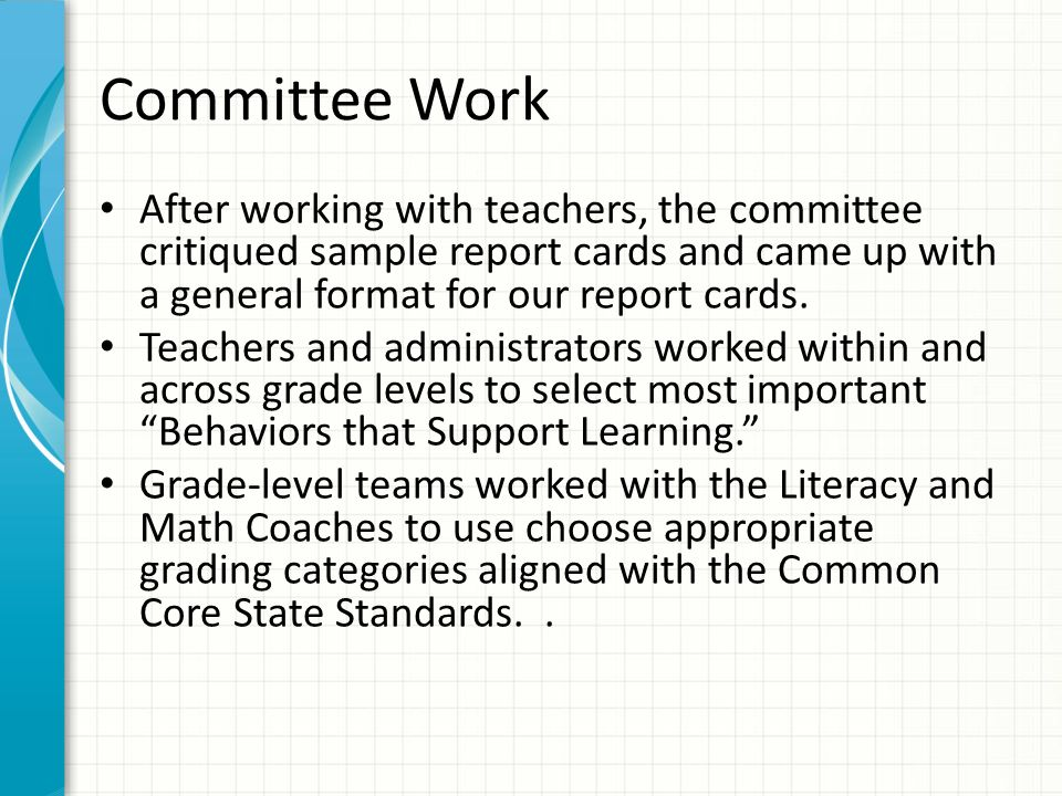 Elementary School StandardsBased Report Cards  Ppt Download
