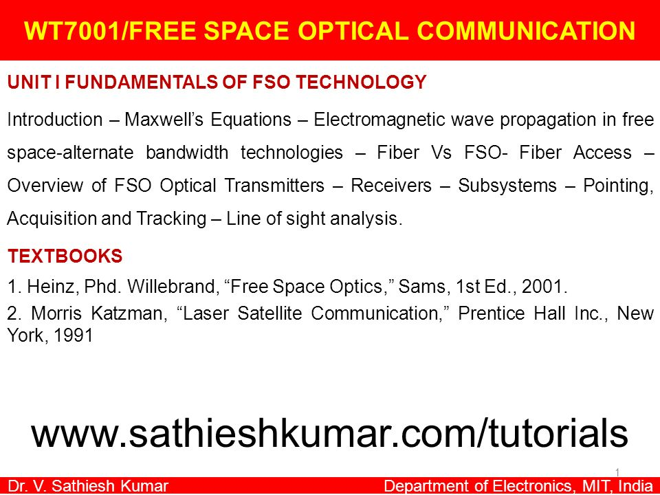 WT7001/FREE SPACE OPTICAL COMMUNICATION