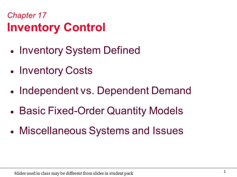 chapter i for inventory system