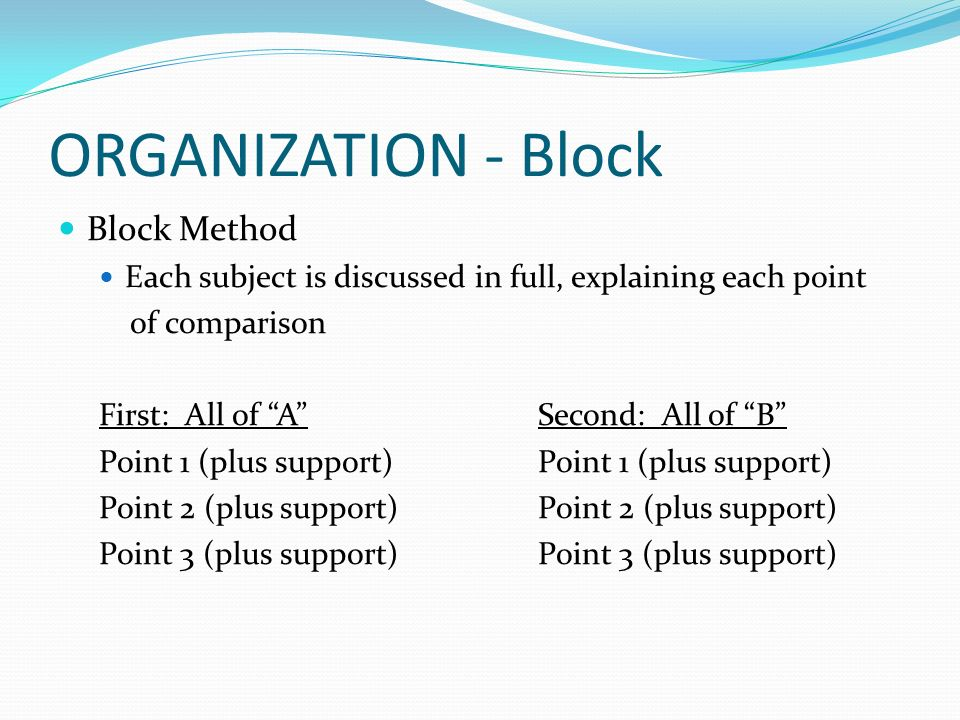 Compare and contrast the organization adapted from various sources