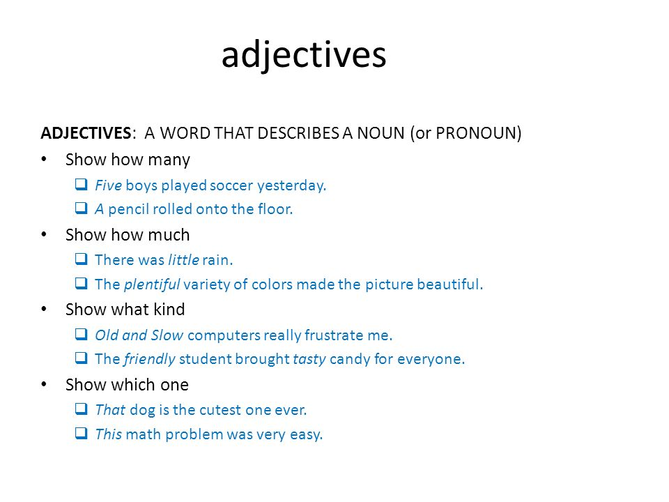 Adjectives adjectives a word that describes a noun or for Is floor a noun