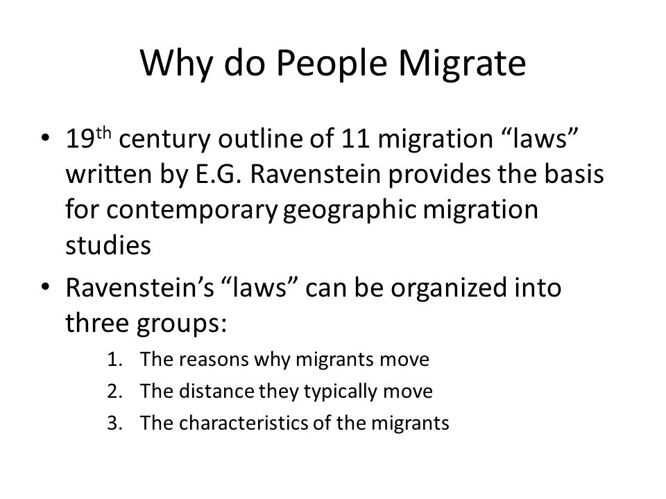 why do people migrate Temporary migration visas allow for an increase in the rate of  to food and water  resources may push people to migrate to countries where  individuals migrating  due to social or political conditions are more likely to do so.