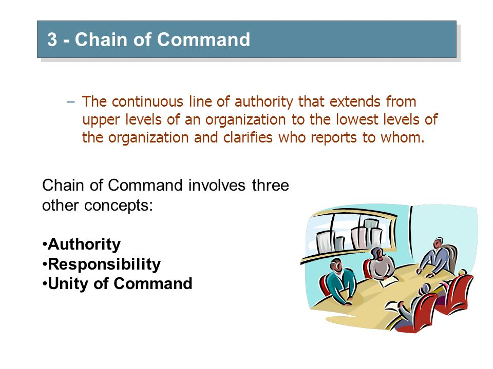 3 - Chain of Command Chain of Command involves three other concepts: