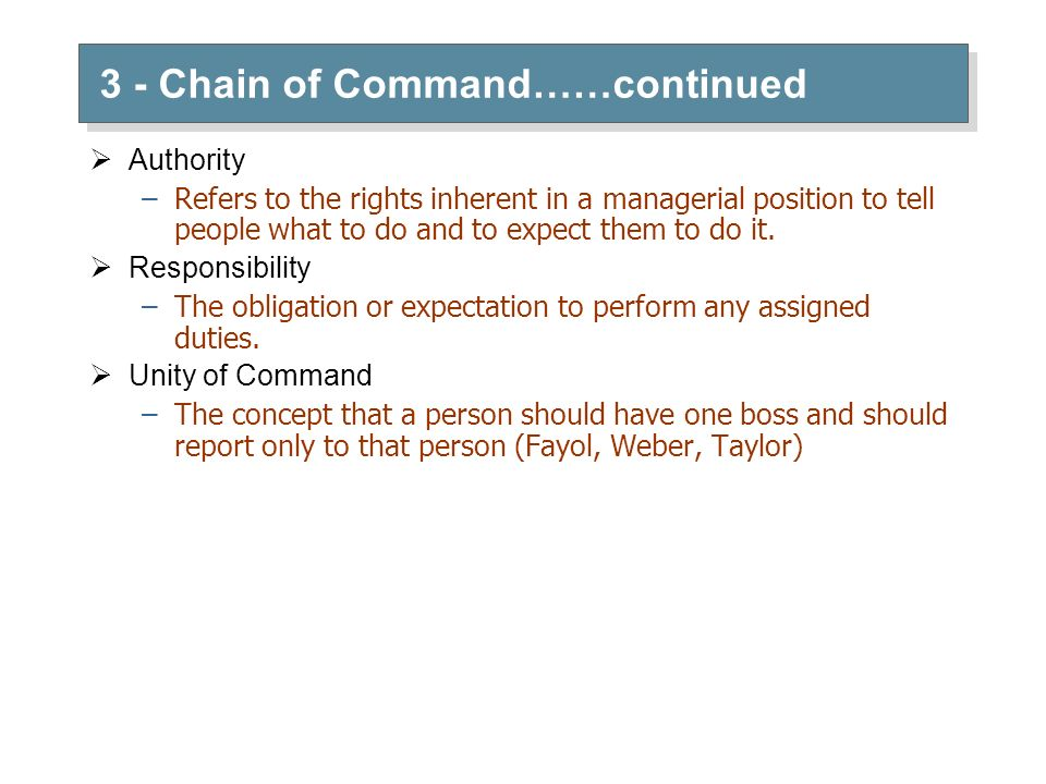 3 - Chain of Command……continued