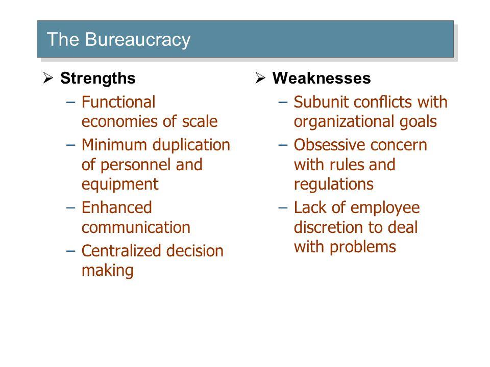 The Bureaucracy Strengths Functional economies of scale
