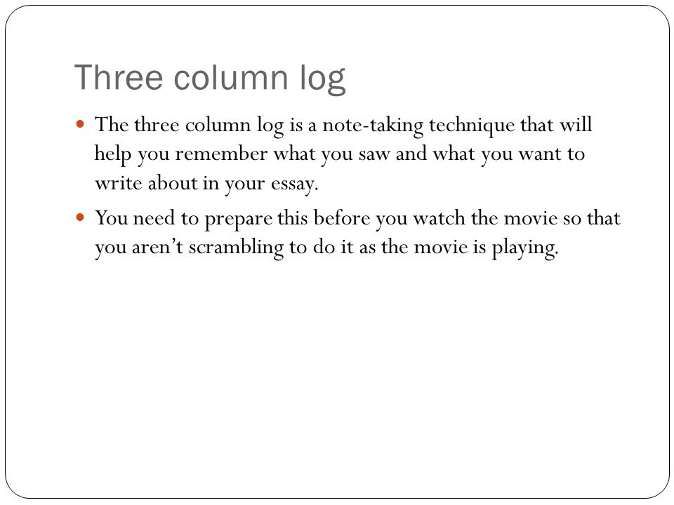 evaluation essay ppt  three column log