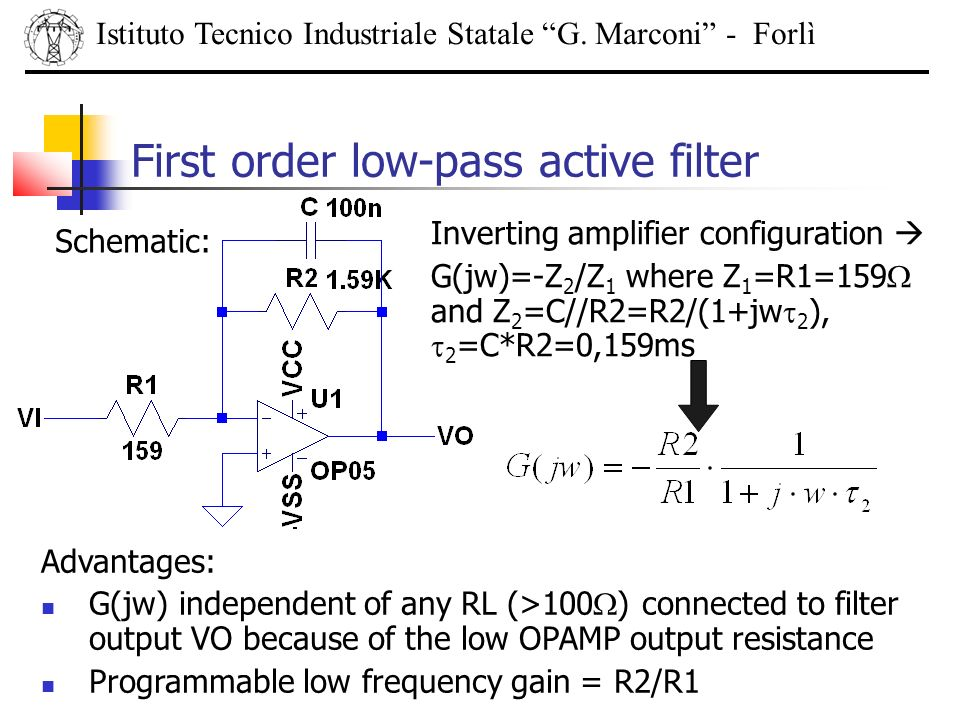 First order low-pass active filter