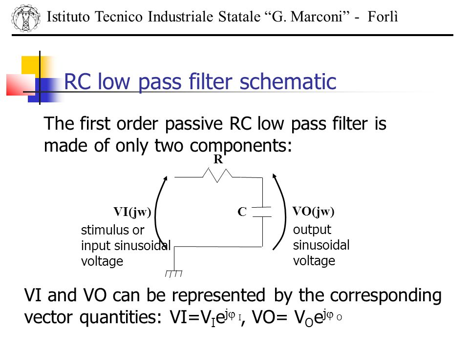 RC low pass filter schematic