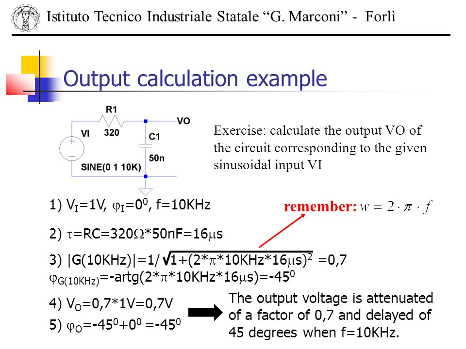 Output calculation example