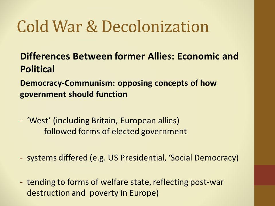 the cold war and ideological differences between the east and the west Gcse history: pre-learning for year 11  ideological differences between east and west  • how ideological differences helped bring about the cold war and how they.