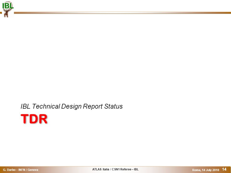 IBL Technical Design Report Status