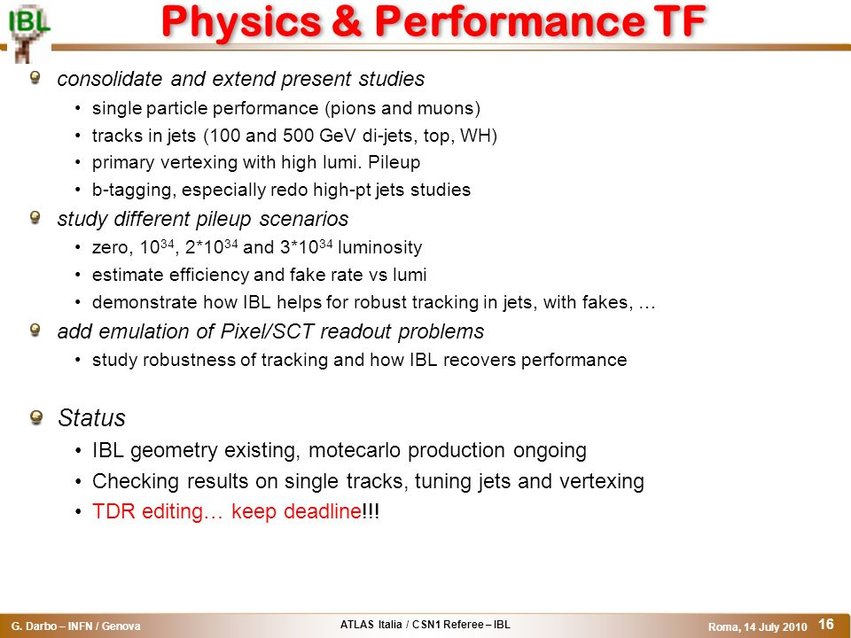 Physics & Performance TF