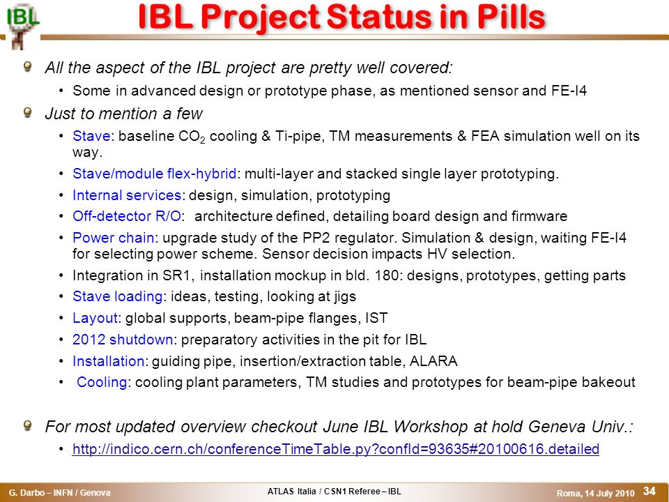 IBL Project Status in Pills