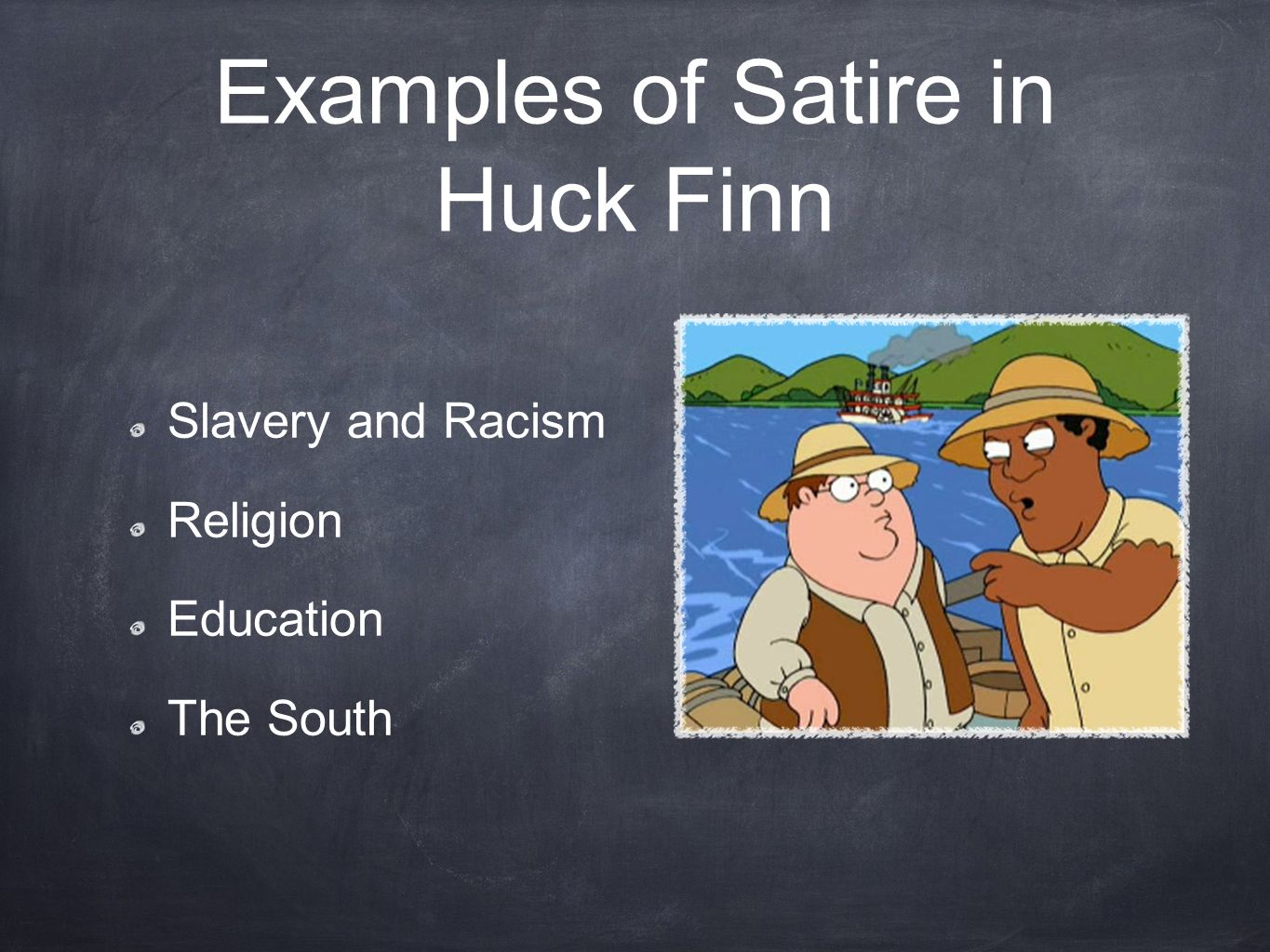 essays satire huck finn To understand mark twain's cynicism in the adventure of huckleberry finn one must understand what satire is it can be defined as a literary work holding up human vices and follies to ridicule or scorn and to expose and discredit vice or folly satire.
