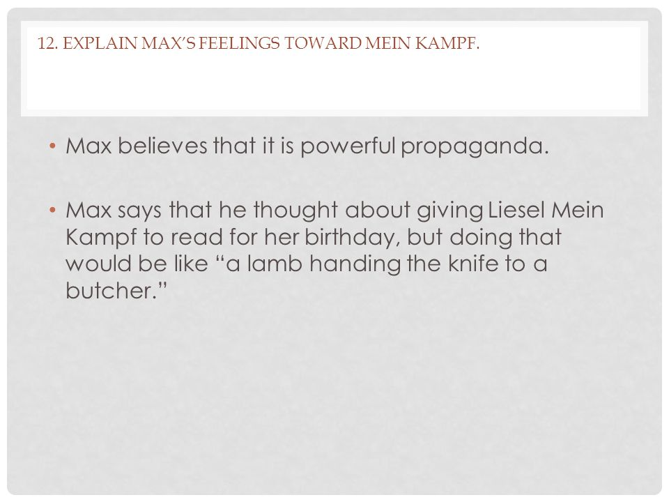 12. Explain Max's feelings toward Mein Kampf.