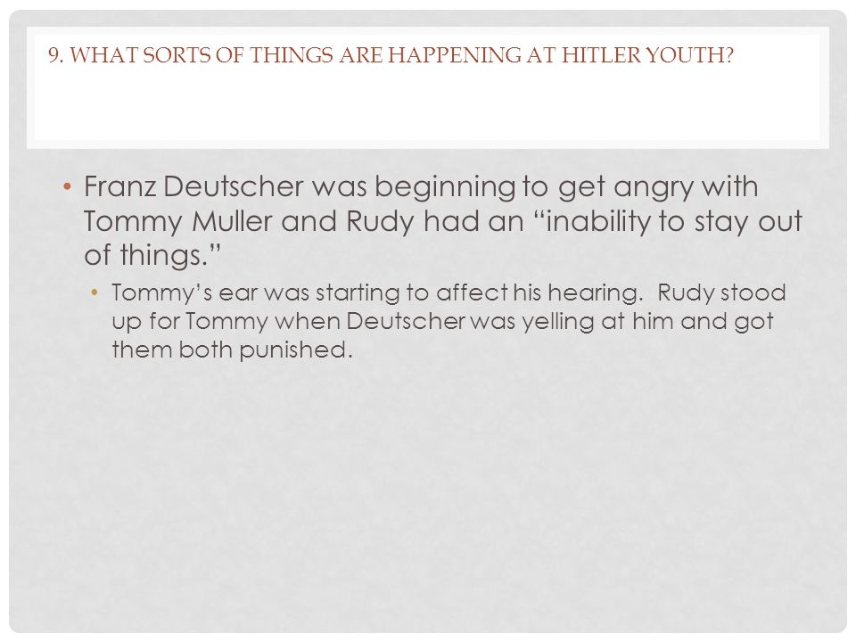 9. What sorts of things are happening at Hitler Youth