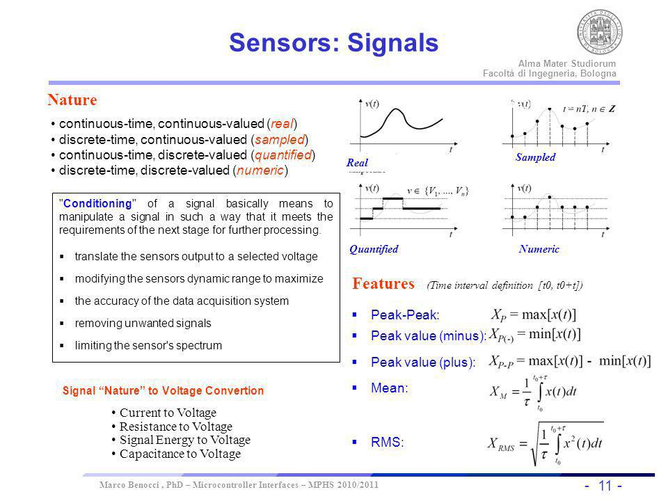 Sensors: Signals Nature Features Time interval definition (t0, t0+t)