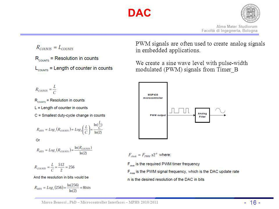 DAC PWM signals are often used to create analog signals in embedded applications.
