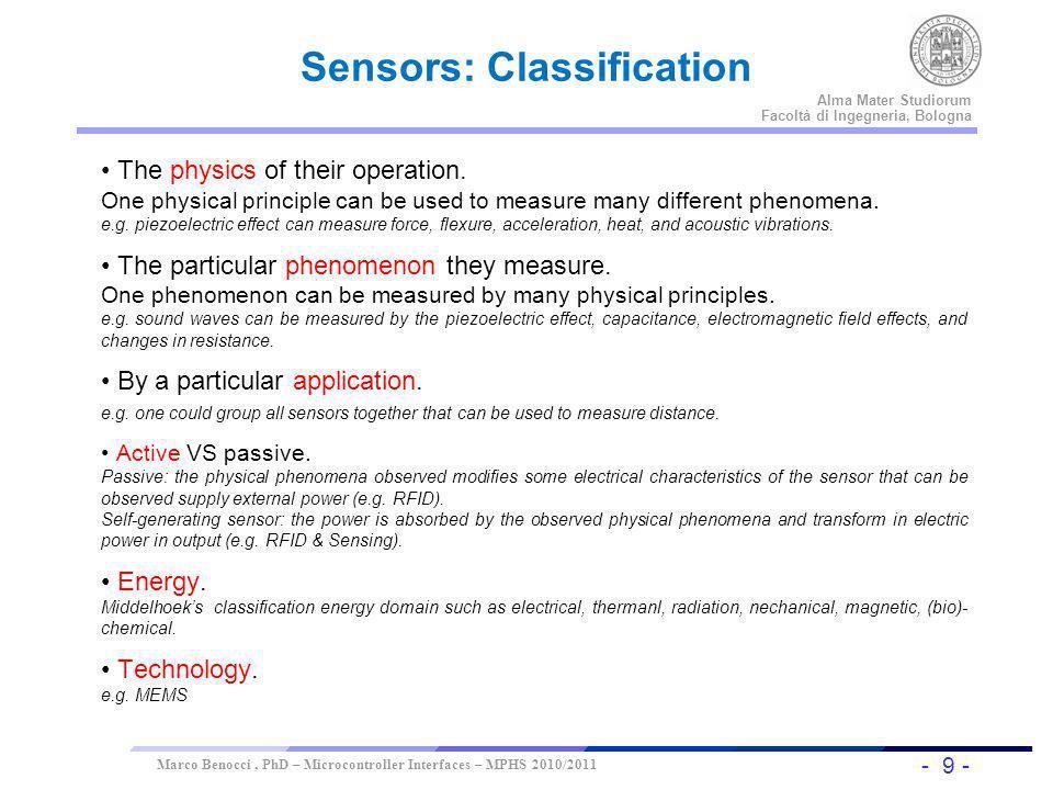 Sensors: Classification