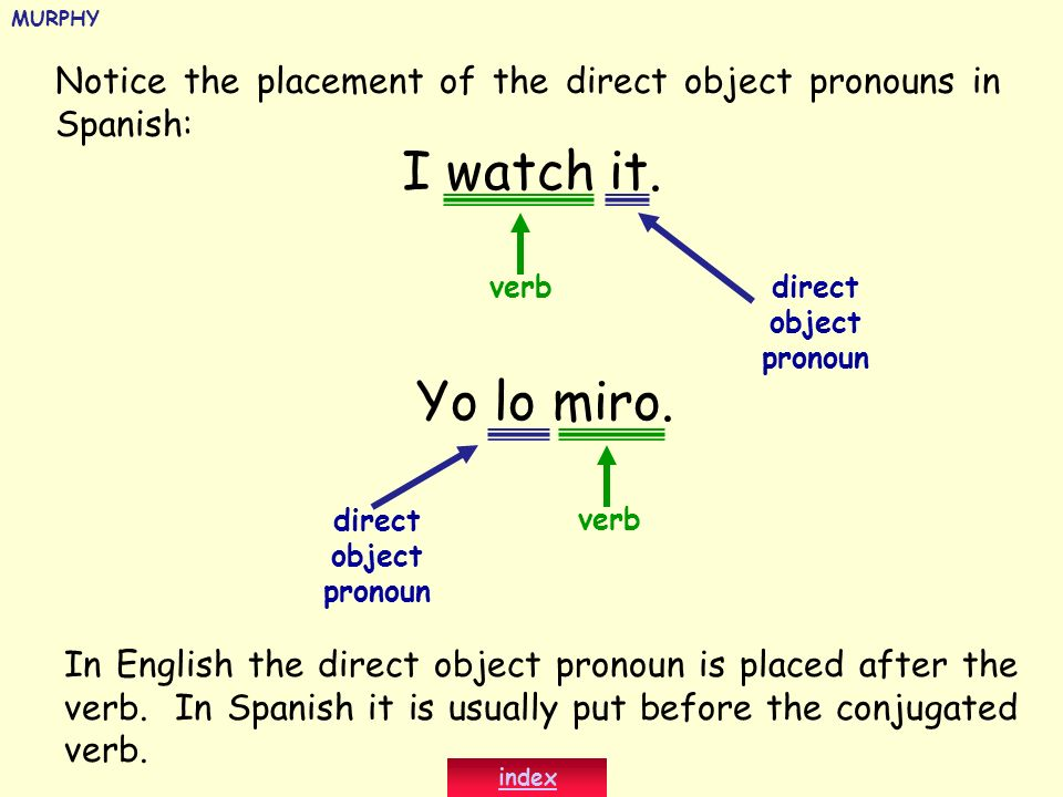 Notice the placement of the direct object pronouns in Spanish: