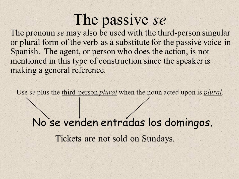 The passive se No se venden entradas los domingos.