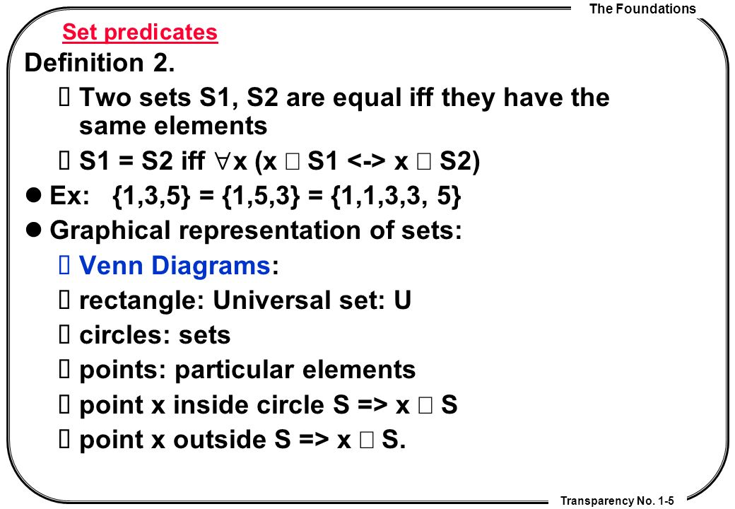 Chapter 2 basic structures sets functions sequences and sums two sets s1 s2 are equal iff they have the same elements sciox Image collections