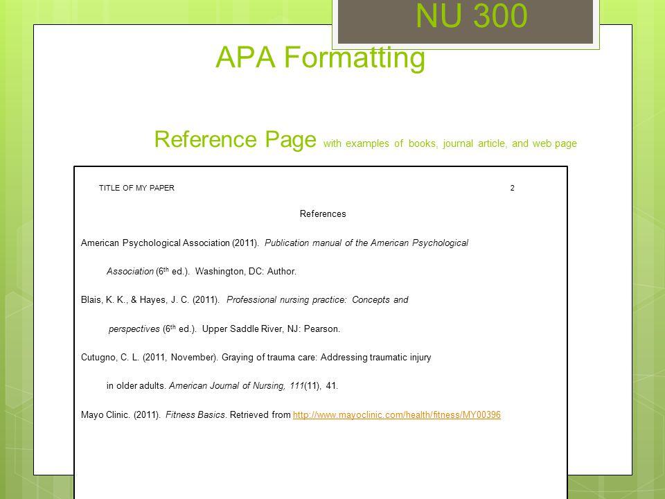 nu 300 unit 3 seminar apa formatting