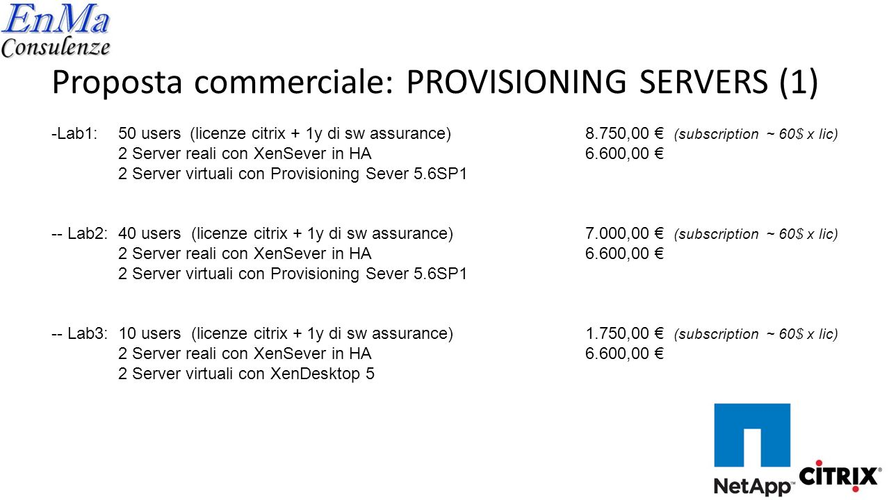 Proposta commerciale: PROVISIONING SERVERS (1)