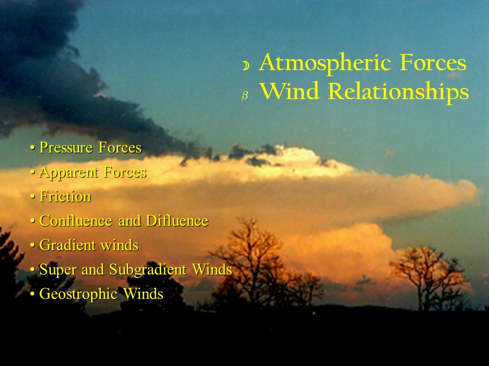 Atmospheric Forces Wind Relationships Pressure Forces Apparent Forces