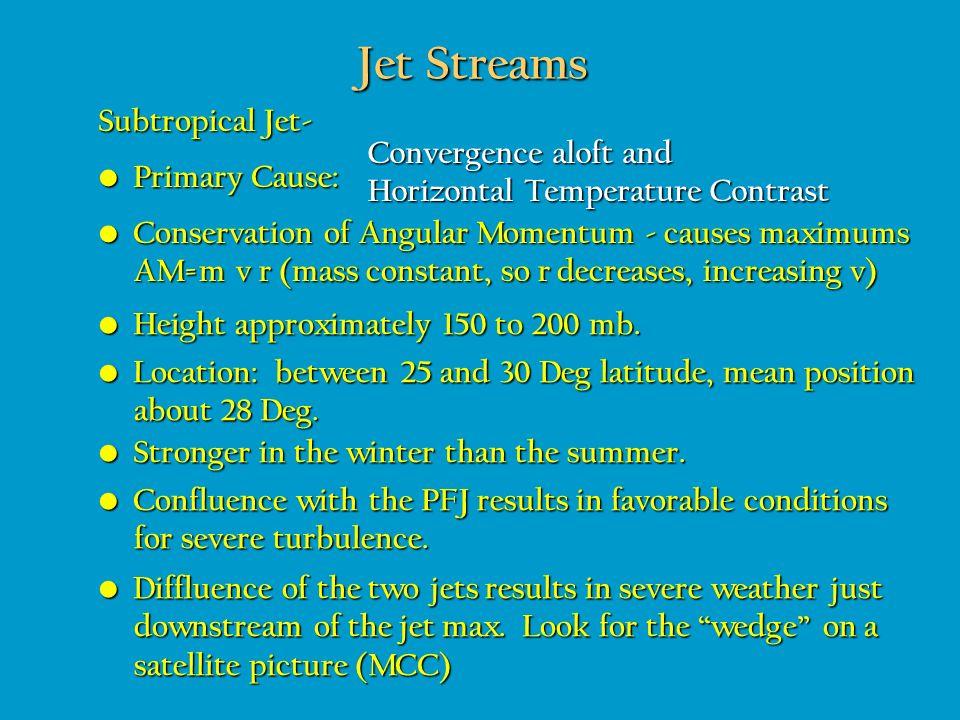 Jet Streams Subtropical Jet- Convergence aloft and
