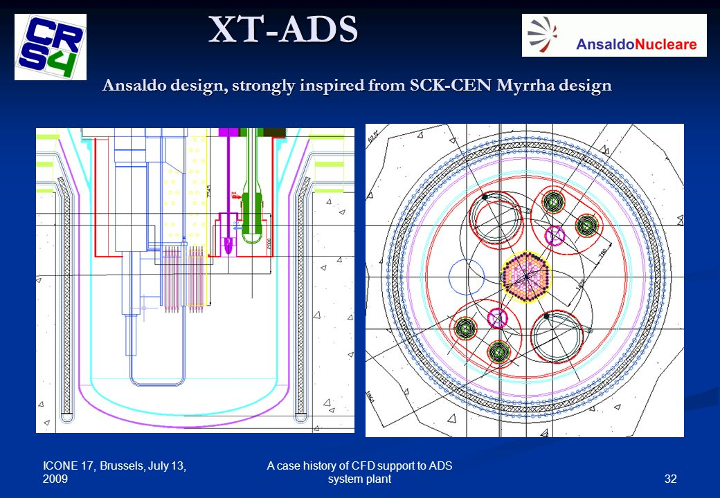 Ansaldo design, strongly inspired from SCK-CEN Myrrha design
