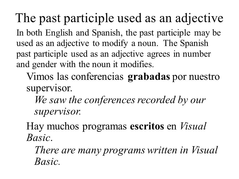 The past participle used as an adjective