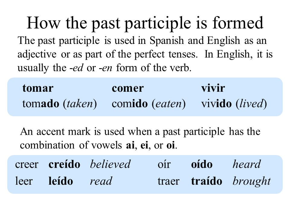 How the past participle is formed