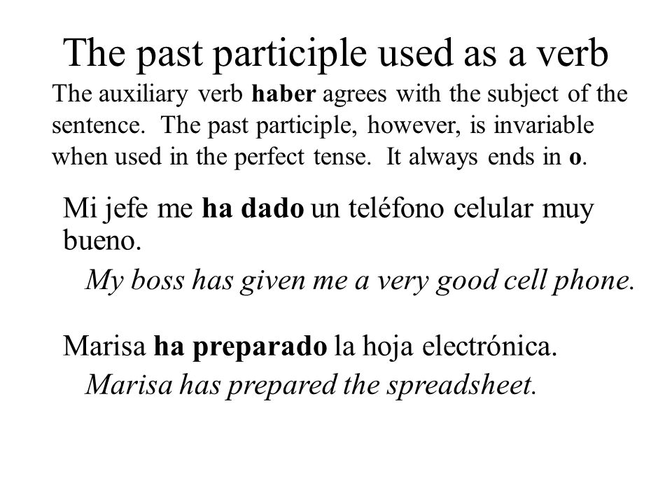 The past participle used as a verb