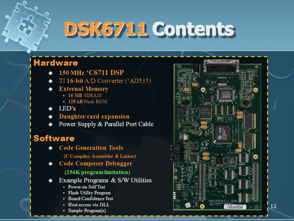 DSK6711 Contents Hardware Software (256K program limitation)