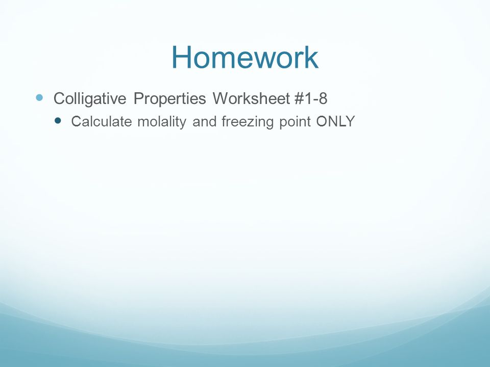 Chemistry colligative properties worksheet