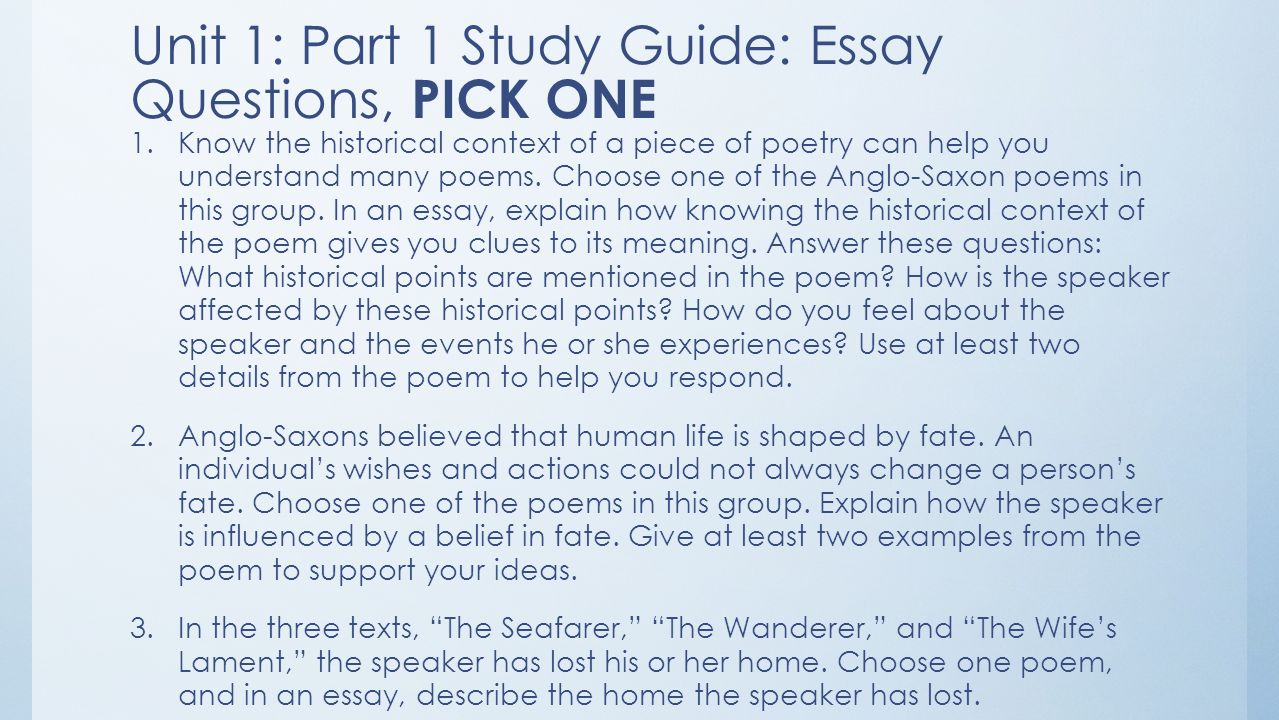 seafarer essay questions Answer this question in an essay, giving examples from the poem students may respond that in each case, the subject of the poem accepts what fate has dealt to him or her in the seafarer, the sailor accepts that the sea will always call him and that he will always follow the call.